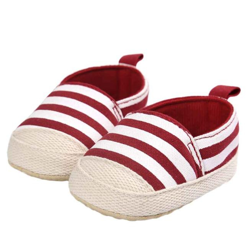 2017 Girl Stripe Canvas Shoe Baby Boys Shoes Sneaker Anti-slip Soft Sole Toddler BFOF