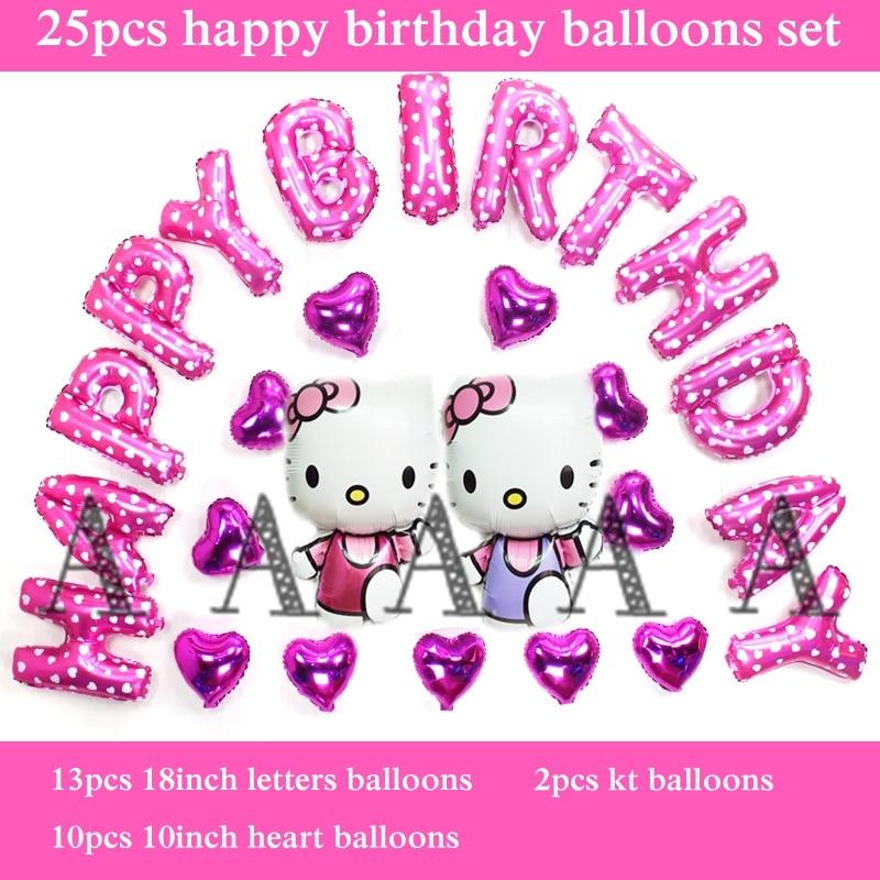 hello kitty balloons foil material 25pcs/set happy birthday balloon set for girl