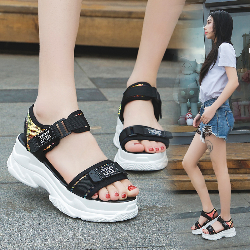 HTB1c3jrd8iE3KVjSZFMq6zQhVXaY Fujin High Heeled Sandals Female Summer 2019 Women Thick Bottom Shoes Wedge with Open Toe Platform Shoes Increased Shoes