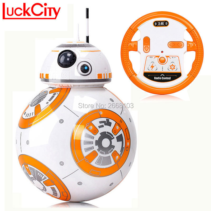 Pengiriman cepat BB-8 Bola 20.5 cm Star Wars RC BB 8 Robot Droid 2.4G Remote Control BB8 Cerdas Robot Action Figure Model mainan