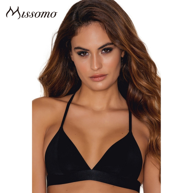 145e2e63f1c6 Missomo Solid Black Sexy Lace Bra WomenHollow Out Mesh Sheer Adjustable  Straps Lady Bralette Push Up Wire Free Female Underwear