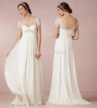 Sheer-illusion Short Sleeve Wedding Dresses Beach Sheath Sweetheart Floor Length Chiffon Bridal Gown yk1A189