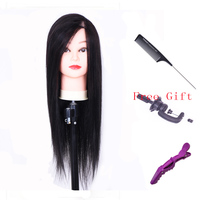 22 70% Real Human Hair Hairdressing Training Head Practice Mannequin Modle Doll Head With Clamp Comb Clip