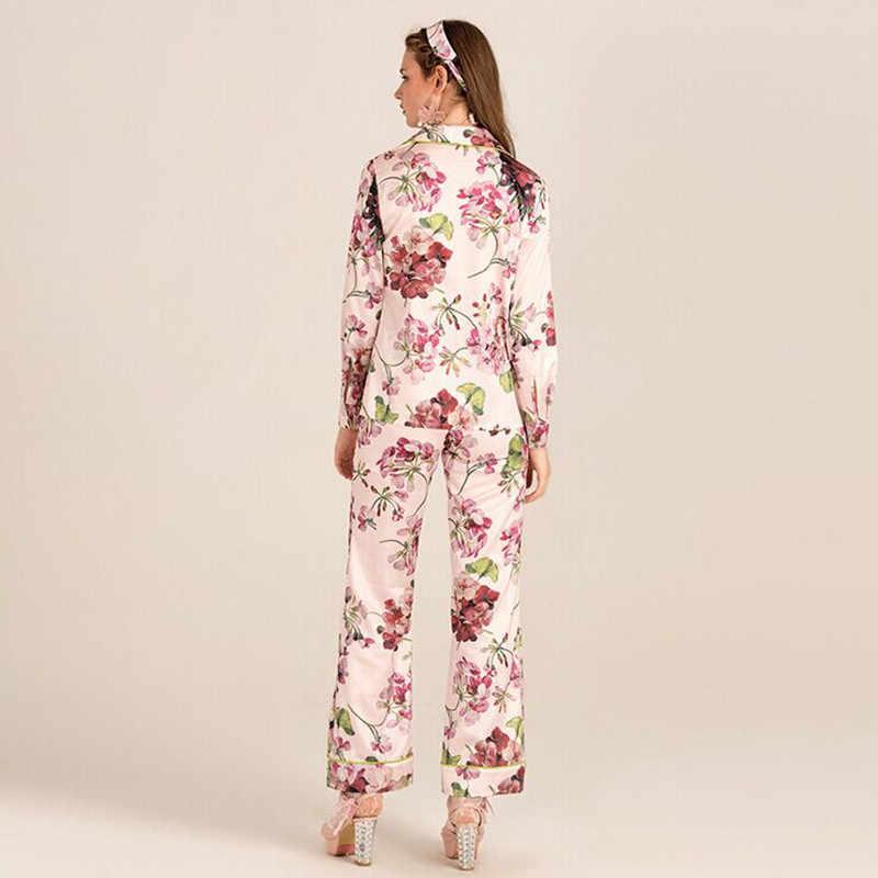 ... Новый бренд женщин Pijama комплекты с цветочным принтом материал  высокого качества элегантные милые пижамы в европейском ... b32462a54c65b