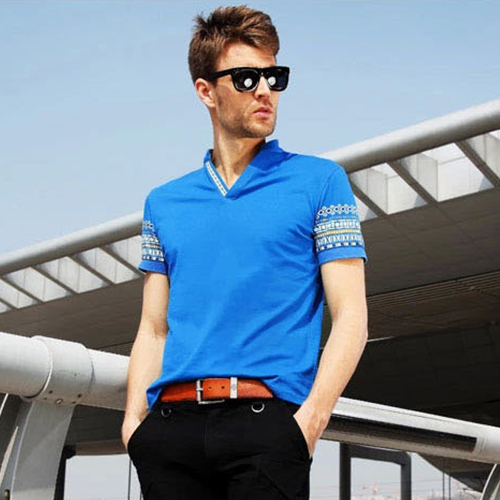 7346964cf2e V Neck T Shirt Men Fashion Summer Brand Short Sleeve Printed Tshirt Men s  Slim Fit Tops Tee Plus Size Clothes M XXL 4 Color-in T-Shirts from Men s  Clothing ...