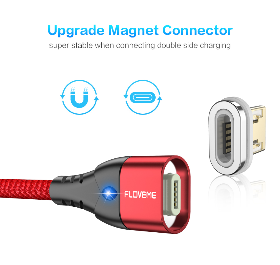 FLOVEME Magnetic Micro USB Type C Lightning Charging Cable For iPhone And Mobile Phones 5