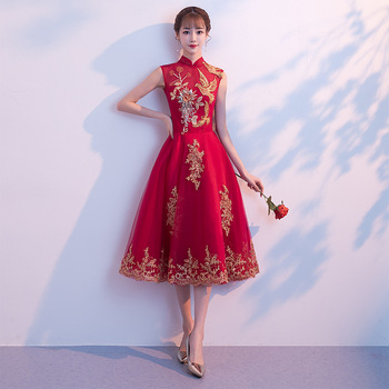 2019 New Medium And Long Chinese Red Flower Embroidered Dress