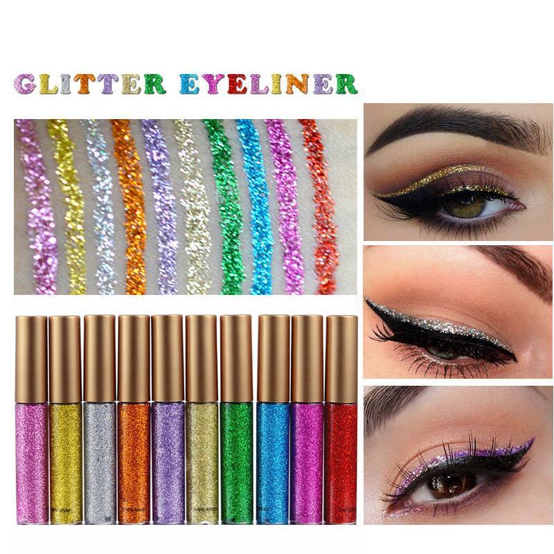 HANDAIYAN Liquid Eyeliner Shining Glitter Waterproof Long Lasting Blue White Color Shimmer Eye Liner Pencils Makeup Cosmetics W3