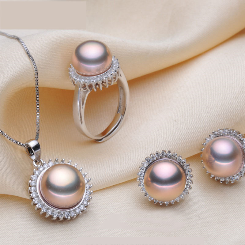 ZHIXI 2016 Elegant Natural pearl bridal jewelry sets real pearl pendant necklace earrings ring engagement