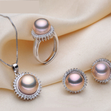 [ZHIXI] 2016 Elegante de la perla Natural sistemas de la joyería nupcial. verdadera perla colgante de collar y aretes y anillo de compromiso regalo ST19