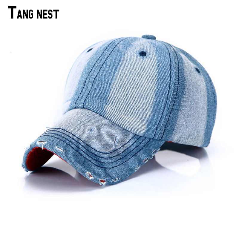 TANGNEST Denim Baseball Cap Fashion Brand Unisex Denim Cloth Distressed Baseball Cap Vintage ...