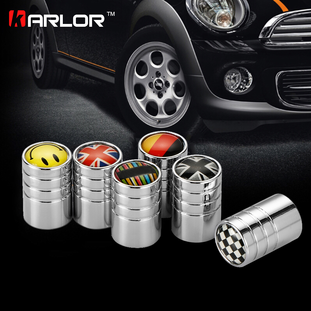4pcs Mini Cooper car tire valve stem caps Union Jack Countryman clubman cabrio paceman roadster R55 R56 R57 R58 R60 R61 F55 F56 accessoir mini cooper s