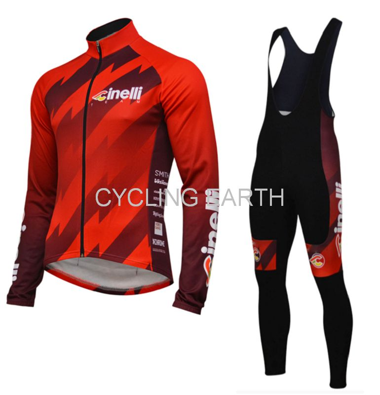 Cinelli 2019 Long Sleeve Cycling Jersey Suit Summer Breathable Bib Pants Ropa Ciclismo Bicycle Clothing MTB Bike Men Clothes Set