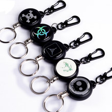 Anti-lost TAD Steel Wire Rope Elastic Keychain Recoil Sporty Retractable Alarm Key Ring Quickdraw Keychains(China)