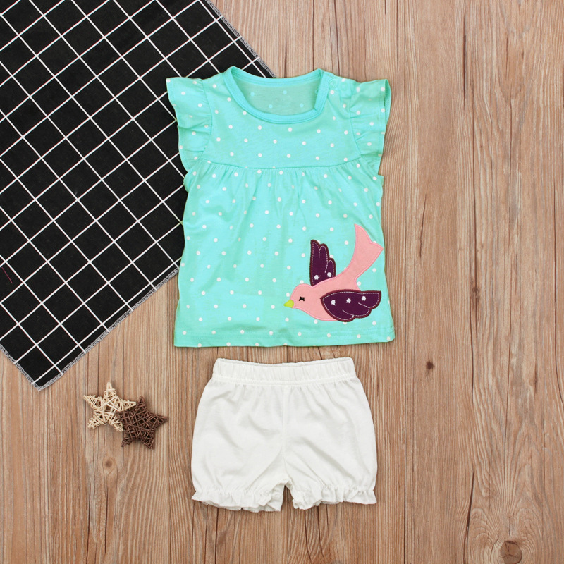 Toddler Bird Printing Short Sleeve T-shirts White Spot Tops Pants 2 pcs Casual Cute Baby Girls Set 2018 Summer Clothes