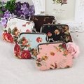 Nostalgia Big roses printing coin purses wallets,women change purse,zero wallet,hasp coin bag,Cotton Fabric key bag wholesale