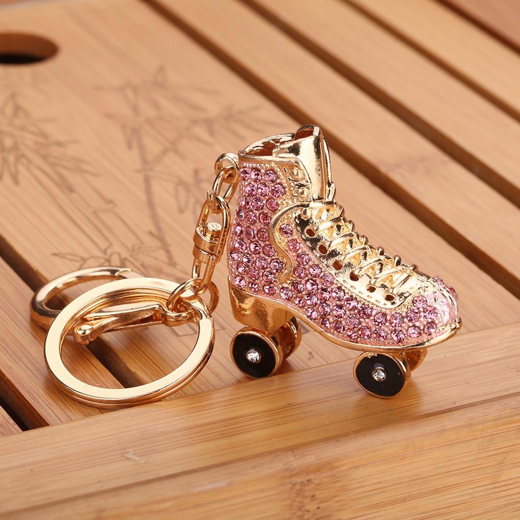 Roller Skates Shoe Crystal Keychain Handbag Pendant Keys Holder Rhinestone Keyring
