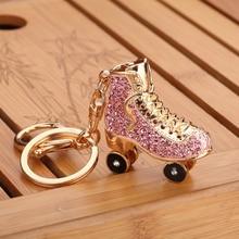 Roller Skates Shoe Crystal Keychain Handbag Pendant Keys Holder Rhinestone Keyring trendy rhinestone cut out winebottle keyring