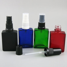 1oz 30ml Frost Black White Clear Blue Green Amber Squre Flat Glass perfume Bottle With Fine Mist Sprayer Perfume