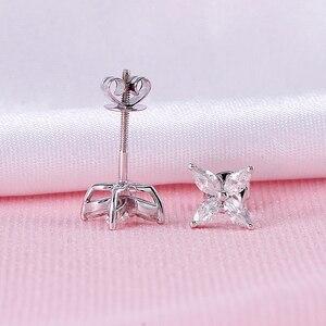 Image 4 - DovEggs 14 18K ホワイトゴールドマーキスカット 2*4 ミリメートル F 色モアッサナイトダイヤモンドスタッドイヤリング女性の花形状ねじバックイヤリング