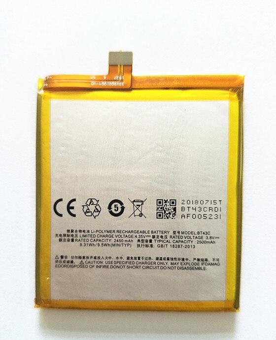 AZK Mobile Phone Battery BT43C For Meizu M2 mini Meilan 2 M2mini Replacement Battery 2500mAh Phone