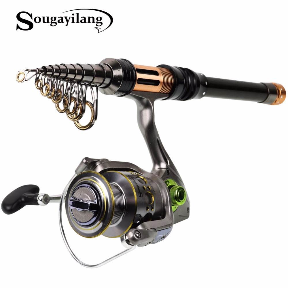 Sougayilang 1.3-2.4m Telescopic Fishing Rod and 13+1BB 5.5:1 High Speed Fishing Reel Wheel Spinning Fishing Rod Reel Combo Pesca sougayilang 1 8 3 0m telescopic fishing rod set and 14bb metal spool spinning reel spinning fishing rod reel combo cana de pesca