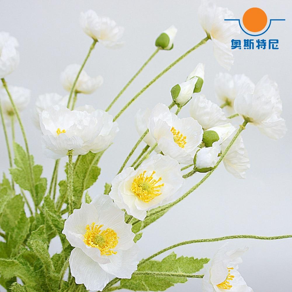 5pcs Artificial Flower Bouquets White Color Artificial Corn Poppy
