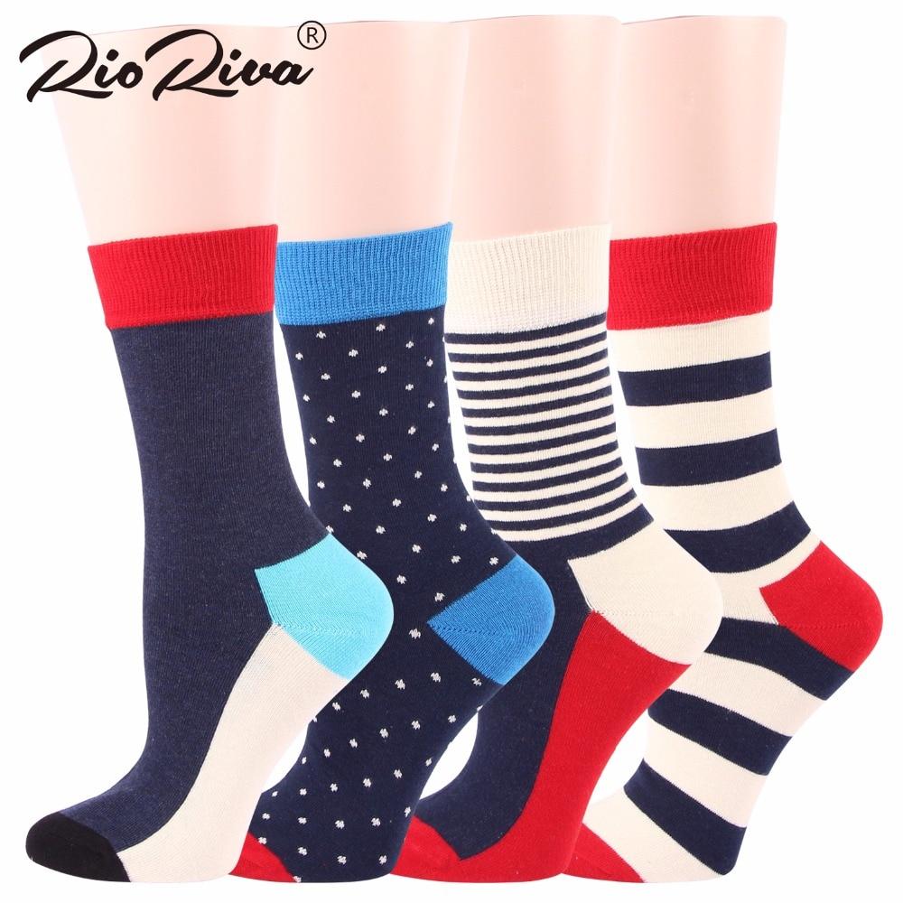 RioRiva 4 Pairs/lot Women Colorful Short Mid Calf Crew Socks Polka Dot Stripes Multi Colored US5-9/EU35.5-40 Ankle Sox Socs