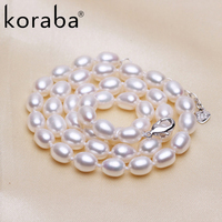 Koraba 100 Real Natural Freshwater Pearls Women Wedding Pearl Necklace 3 Colors Noble Elegant Fine Jewelry