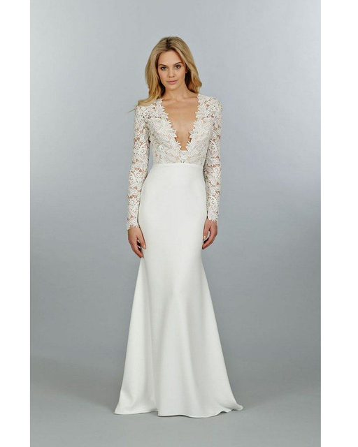 Vestidos De Novia V Neck Long Sleeved Wedding Dresses Mermaid