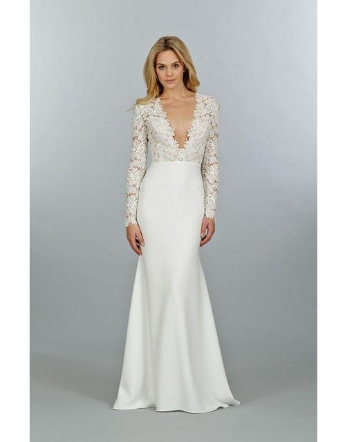Vestidos De Novia V Neck Long Sleeved Wedding Dresses Mermaid - Covered Back Wedding Dress