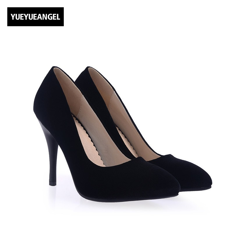 New Fashion Women Dress Pumps Pointed Toe Slip On Velvet For Women Paty Wedding Shoes Lady High Heel Shoes Red Black Blue Colour 2017 women lady shoes flat heel spring autumn boat pointed toe slip on casual simple mixed color pink yellow blue black red