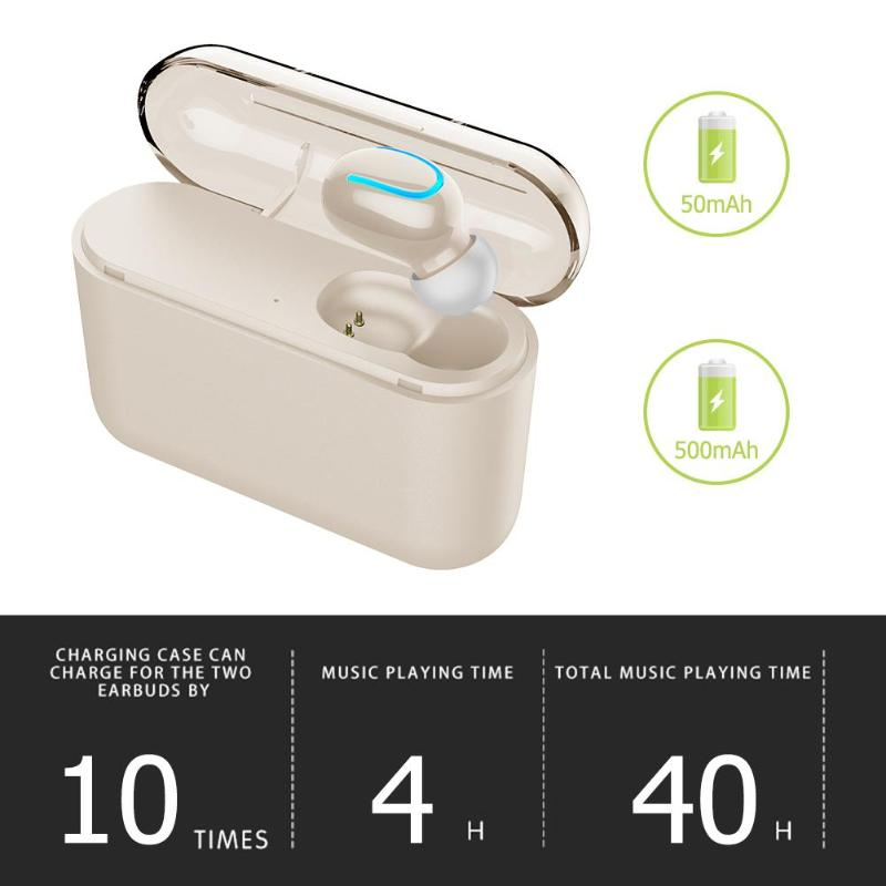 Q26 single ear headset true wireless Bluetooth earbuds 1500mAh charger shell 5.0 automatic boot / shutdown paired small body