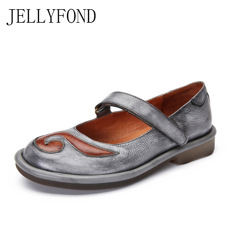 JELLYFOND 2018 Spring Genuine Leather Handmade Shoes Woman Round Toe Totem Patch Retro Comfortable Female Flats Big Size Grey