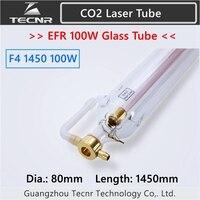 EFR F4 100 W CO2 стеклянная лазерная трубка 80 мм Диаметр 1450 фокусное расстояние для CO2 станок для лазерной гравировки