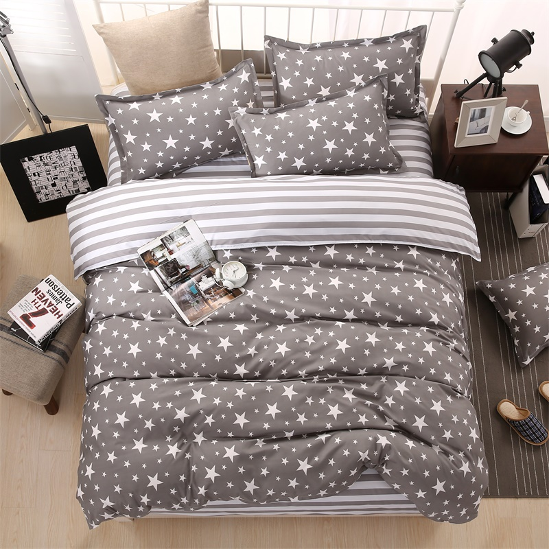 Classic Bedding Set 5 Size Grey Blue Flower Bed Linen 4pcs Set Duvet