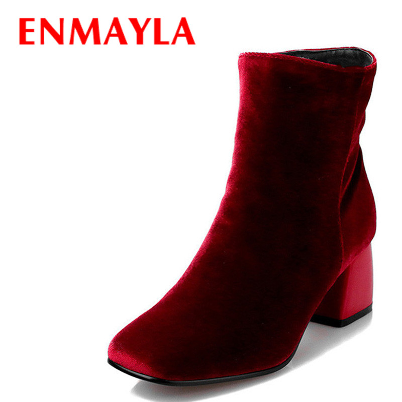 ENMAYLA Retro Winter High Heels Ankle Boots Women Nubuck Charms Shoes Woman Sexy Red Boots Med Heels Square Toe Boots Size 34-43 enmayla autumn winter chelsea ankle boots for women faux suede square toe high heels shoes woman chunky heels boots khaki black