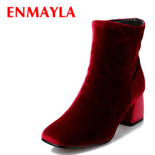 Airfour Winter High Heels Ankle Boots Women Nubuck Charms Shoes Woman Sexy Red Med Square Toe Size 34-43