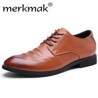 merkmak Geniune Leather Dress Men Shoes Fashion Men Flats Point Toe Comfortable Office Dress Shoes Oxford Male Footwear 38~48