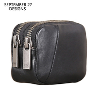 Coin Purses Genuine Leather Fashion Double Zipper Mini Coin Pouch 100% Cowhide Leather Men Women Small Wallets Money Change Bag