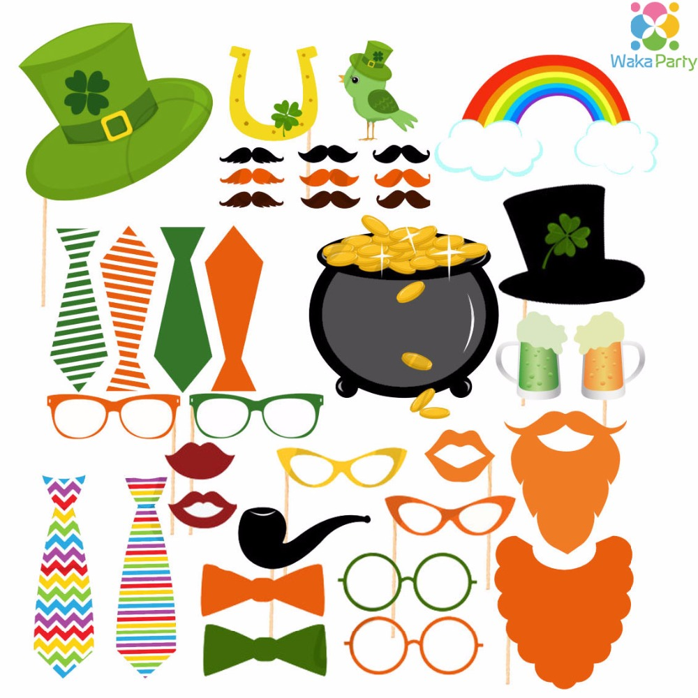 Set Of 37 Irish St Patricks Day Photo Booth Props Photobooth On A