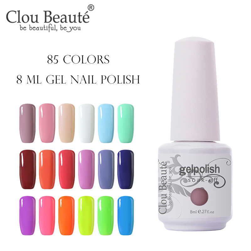 Clou Beaute Gel Cat Kuku Gel Lak Art Set untuk Manikur UV Vernis Semi Permanen Gellak 85 Warna Gel Varnish nail Polish 8 Ml