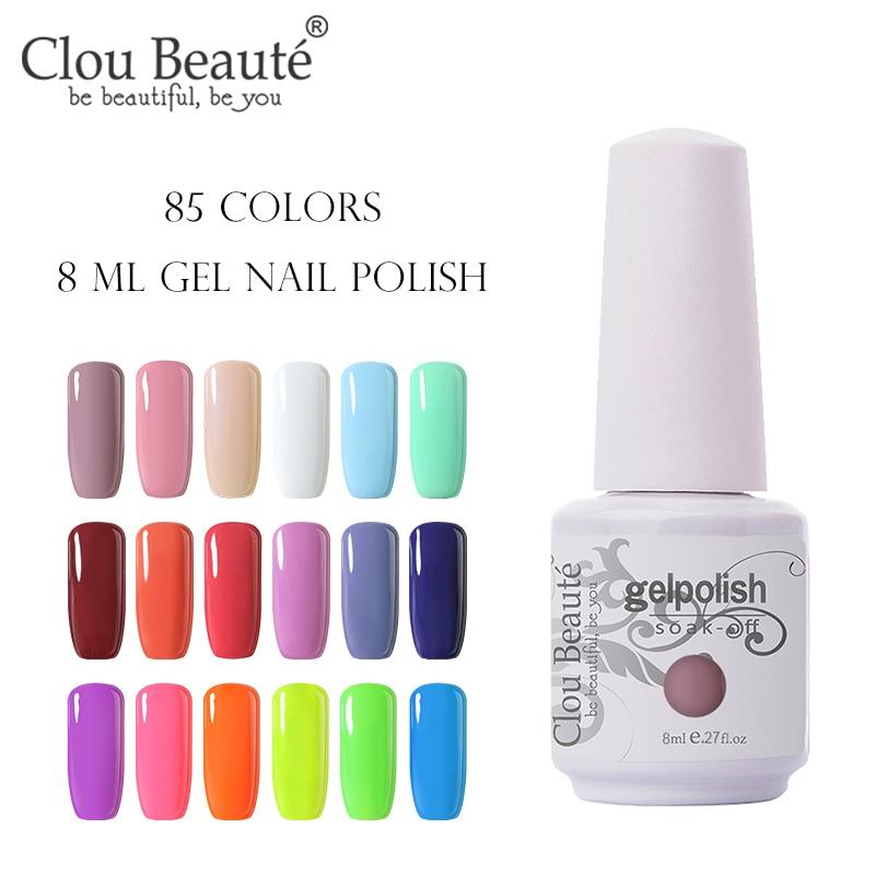Clou Beaute Gel Polish Nail Gel Lak Art Set For Manicure UV Vernis Semi Permanent Gellak 85 Colors Gel Varnish Nail Polish 8ml