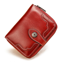 Botom Vintage Genuine Leather Purse Women Short Wallets Cow Leather Small Coin Pocket Credit Card Wallet Female Clutch Purses