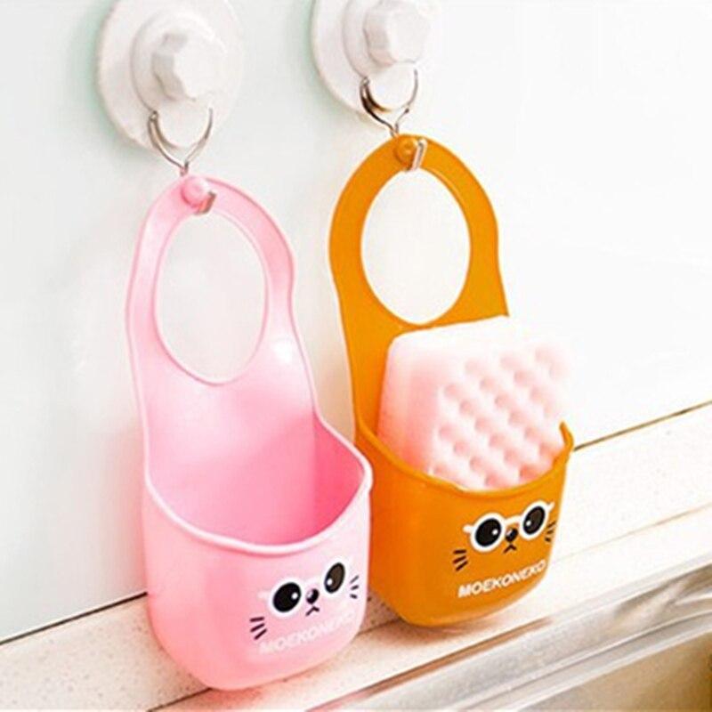 1 Stück Wc Seife Regal Organizer Cute Katze Küche Waschbecken Hängen Aufbewahrungstasche Waschen Tuch Schwamm Lagerregal Korb Verkaufsrabatt 50-70%