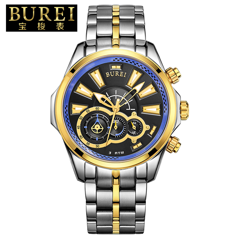 BUREI Fashion Men Sapphire Crystal Mirror Quartz Watch Waterproof Sports Wristwatches With Premiums Package 17001 burei brand crystal sapphire men sports automatic mechanical watch waterproof male wristwatches with premiums package 15009