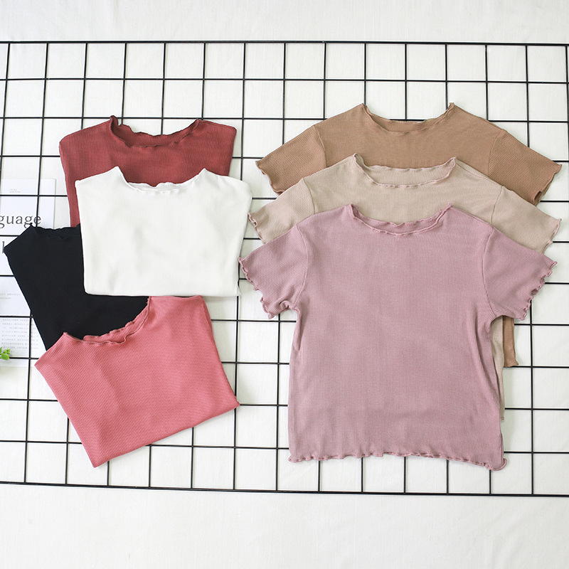 Baby Thin Shirt 2019 Fashion Short Sleeve Baby Girl T Shirt Summer Baby Girl Tops O-neck Beautiful Infant Ribbed Striped Clothes