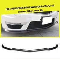 Carbon Fiber / FRP Car Front Bumper Lip Spoiler Guard Protector for Mercedes Benz C Class W204 C63 AMG Sedan Coupe 2012 2014