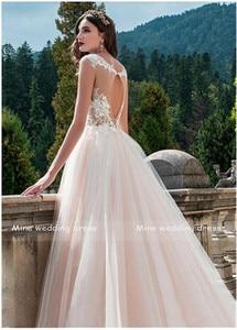 Image 2 - Vintage Scoop Neck Wedding Gowns Vestido de Novia Robe de Mariee A Line Illusion Bridal Dress Lace Appliques Wedding Dress