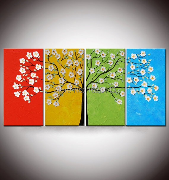 Hand Painted Oil Painting On Canvas 4 Season Tree Paintings For Living Room  Wall Art Modern